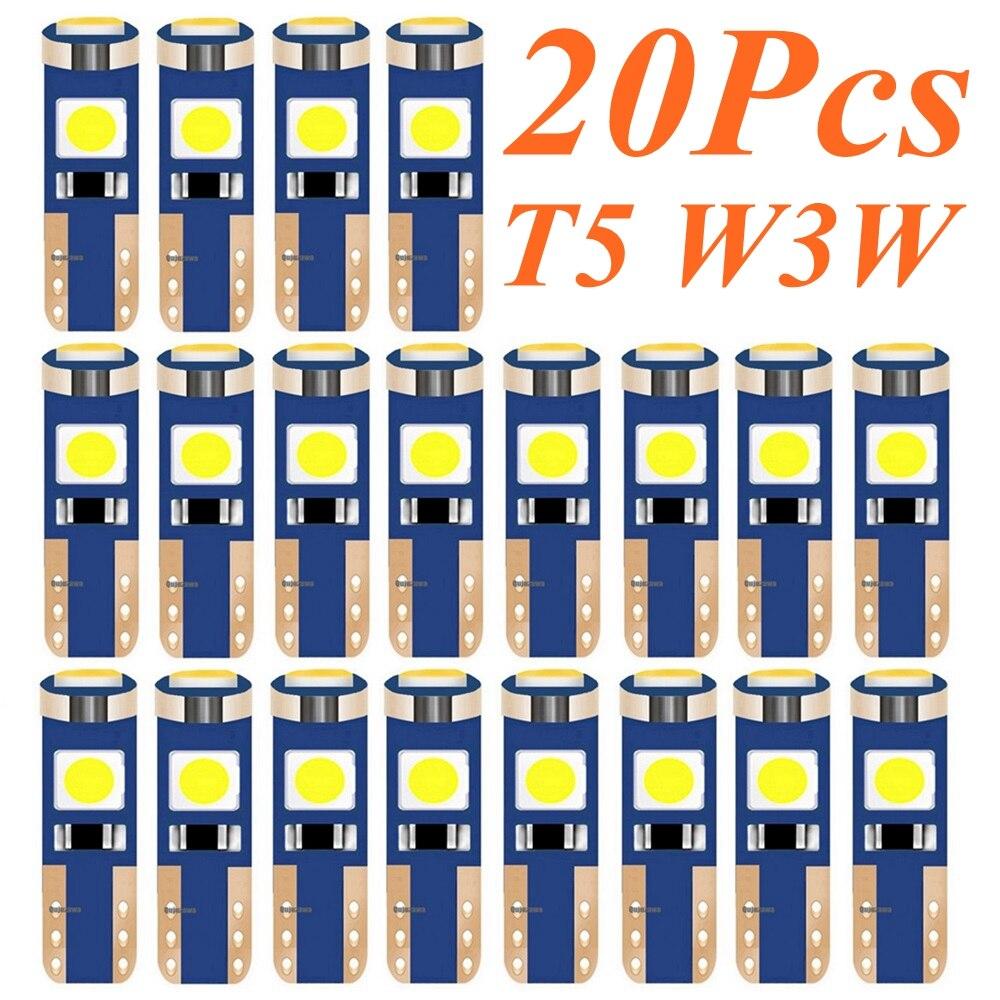 10 шт. T5 W1.2W 27 74 86 206 супер яркий 3 SMD 3030 светодиодный светильник для салона автомобиля Авто боковой Клин приборная панель Калибр инструмент лам...