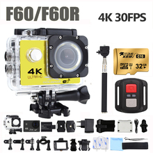 F60/F60R Ultra HD Wifi Action Camera 4K 30Fps 16MP 170D Angle Lens 30m Waterproof Sport Camera Helmet Video Recording Camera akaso v50x wifi action camera native 4k30fps sport camera with eis touch screen adjustable view angle 131 feet waterproof camera