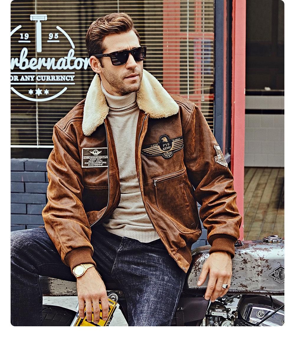 Ha11b8f99d14d41c8a1507652c9c908500 FLAVOR New Men's Real Leather Bomber Jacket with Removable Fur Collar Genuine Leather Pigskin Jackets Winter Warm Coat Men