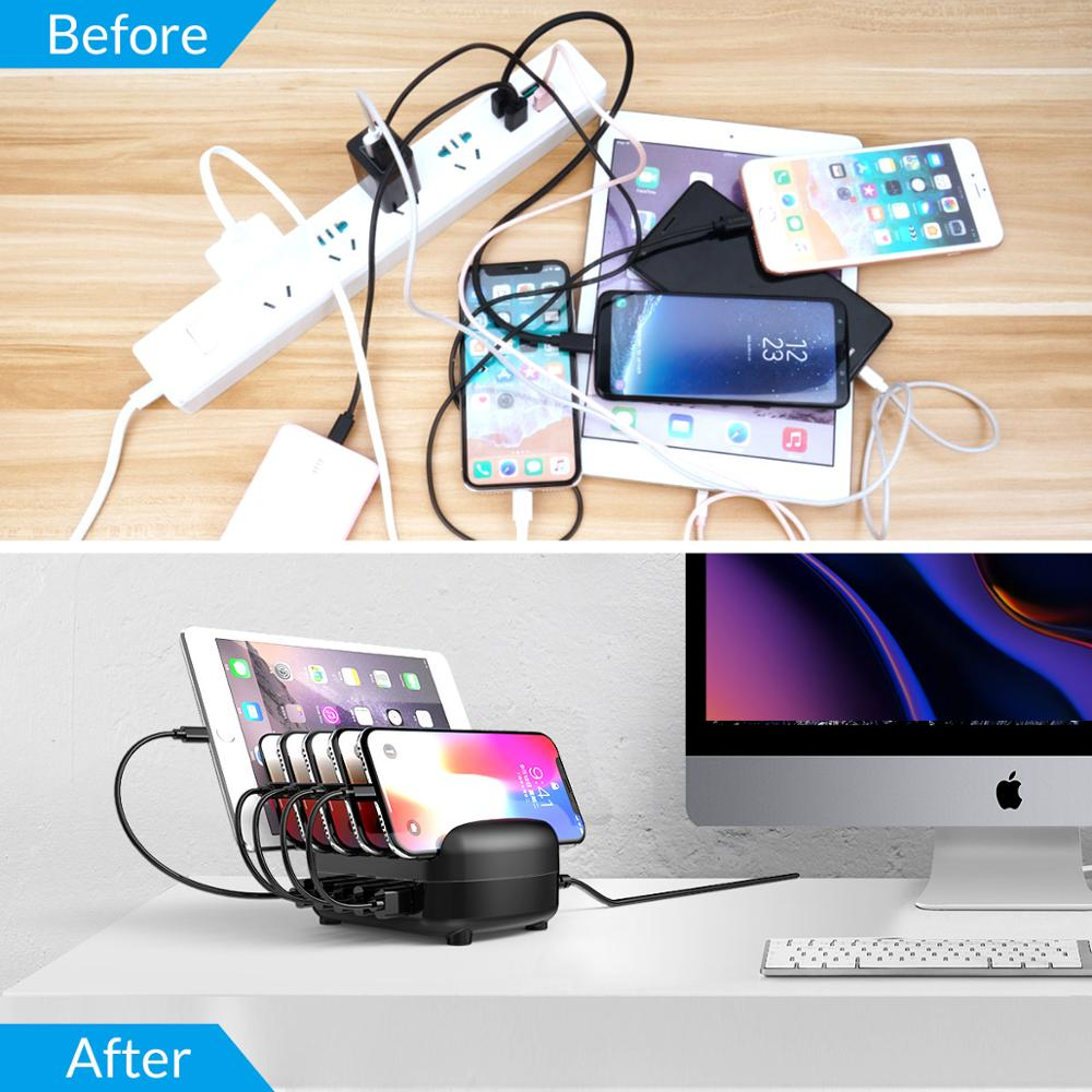 Image 3 - ORICO 5 Port USB Charger Station Dock with Holder 40W 5V2.4A*5 USB Charging for iphone pad PC Kindle Tabletstation dock5 portcharger station -