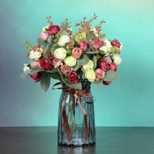 European-style Beam Simulation Artificial Rose Bouquet Silk Cloth Fake Flowers Wedding Party Home Decoration Accessories