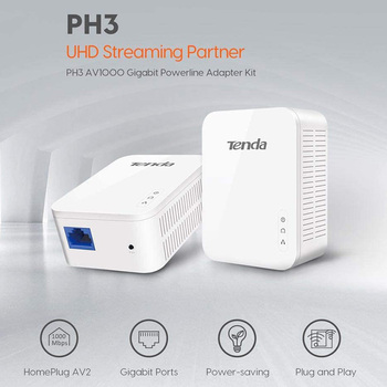 1Pair Tenda P3 AV1000 Gigabit Powerline Adapter Up to 1000Mbps PH3 Ethernet PLC Homeplug for Wireless WiFi Router Partner IPTV 1