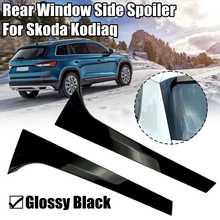 Par spoiler guarnição capa adesivos acessórios estilo do carro janela traseira lateral spoiler canard asa canard splitter para skoda kodiaq