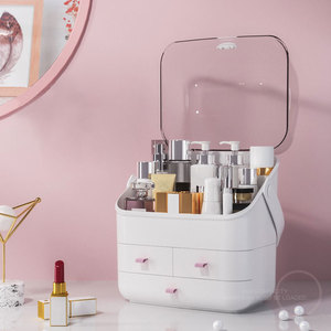 1 2 3 Layers Makeup Cosmetics Jewelry Organizer Display Box Storage Drawers Large With lid Cover Holder Waterpoof Dustproof