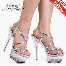 Sexy crystal paillette bride Ankle Strap wedding shoes 15cm high-heeled shoes female sandals Glitter sexy 6 inch crystal shoes sexy fashion models to shoot steel pipe shoes shoe stage shows black high heeled shoes bride wedding sandals
