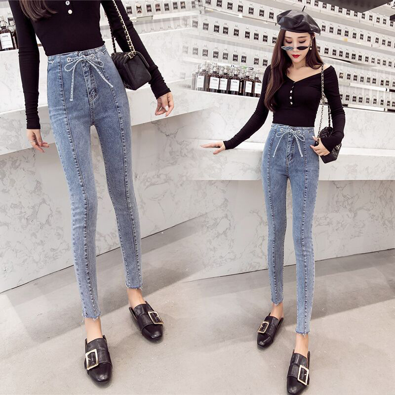 Network Diagram Online Celebrity Jeans Women's Autumn 2018 Korean-style Fashion New Style Pencil Pants High-waisted Tight Slimmi