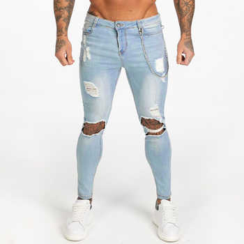 Gingtto Men's Skinny Jeans Super Spray on Lightweight Cotton Ankle Tight Fit Ripped Repaired Black Blue Grey Plus Size zm15 - DISCOUNT ITEM  24% OFF All Category