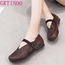 GKTINOO ฤดูใบไม้ผลิสุภาพสตรีของแท้หนัง Handmade Retro รองเท้า Hook & LOOP รองเท้าแบนรองเท้าผู้หญิง 2020 ฤดูใบไม้ร่วงรองเท้า Loafers นุ่ม
