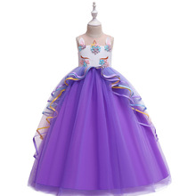 Cute Cartoon Unicorn Dress Christmas Kids Dresses for Girls Applique Costume Princess Children Birthday Party
