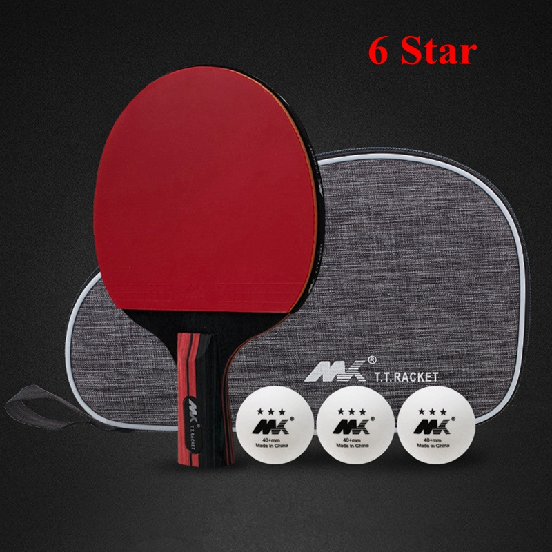 7 Ply Pure Wood Carbon Table Tennis Racket Double Face Pimples-in Sticky Rubber 6 Star Ping Pong Paddle Bat