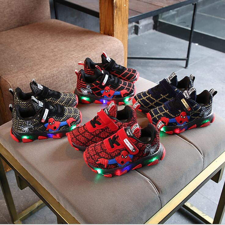 Hot Led Spiderman Kids Sneakers Boys Girls Light Children Baby Shoes Mesh Sport Boys Girls Spider Man Led Light Shoes Size 21-30