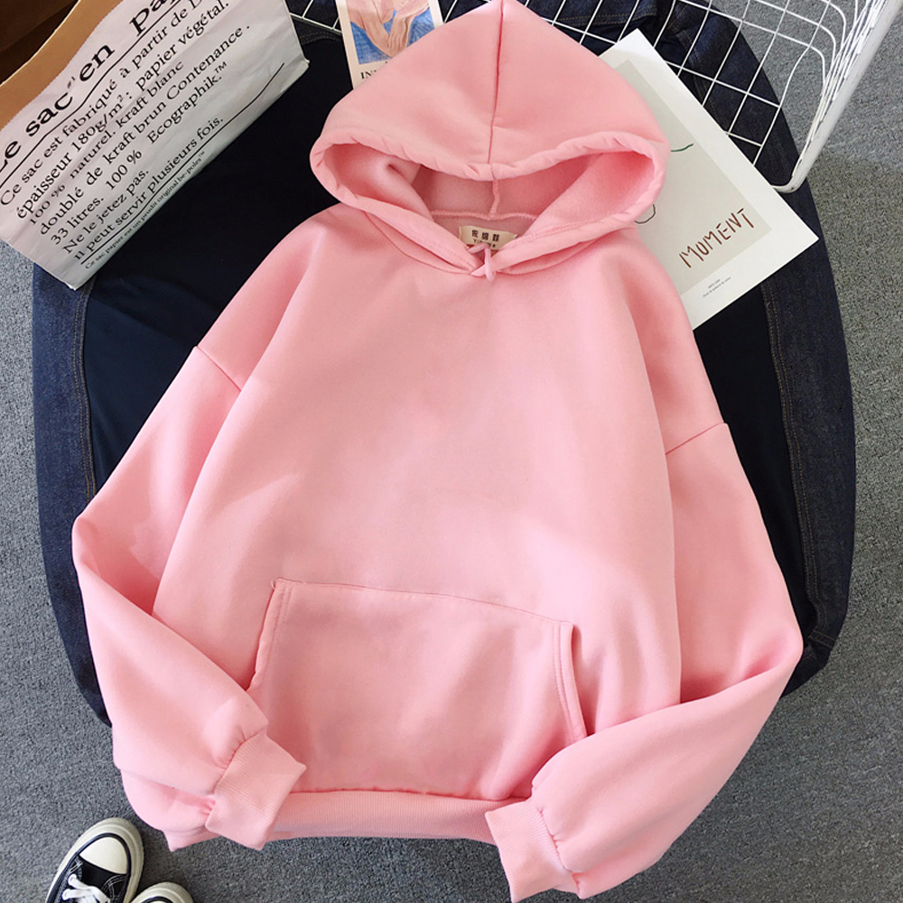 oversized clothes Sweatshirts Women Pink Women's Hoodies Warm Ladies Long Sleeve Casual Hooded Pullover Clothes Sweatshirt 14