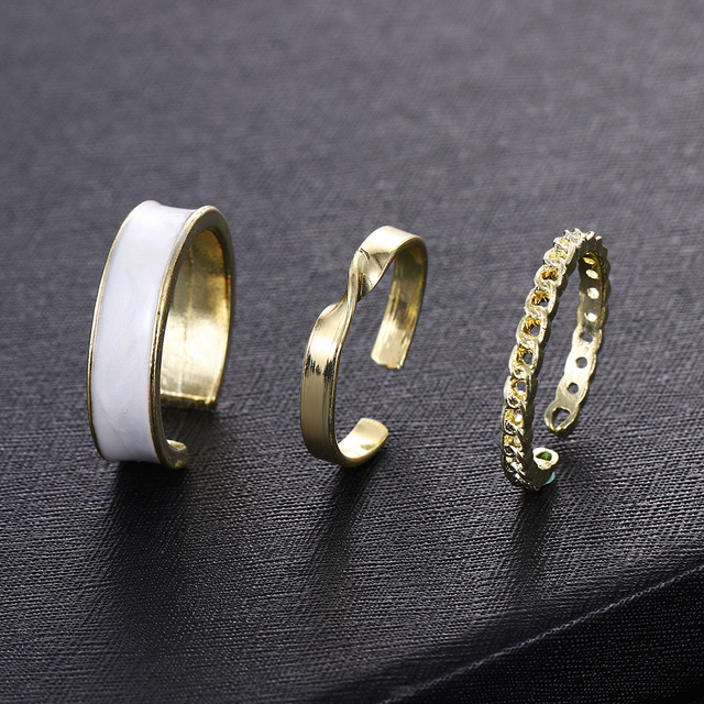 Korean Net Red New Trendy Ring Three piece Fashion Simple and Wide Face Adjustable Opening Index Finger Ring Hot Sale In 2020 Rings    -
