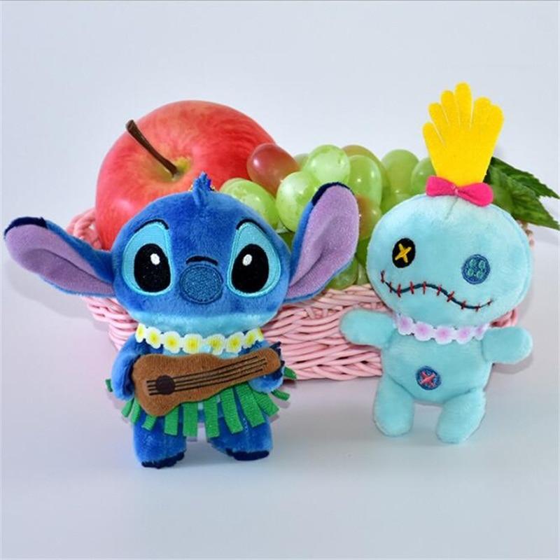 Cartoon Cute Hawaii Stitch Plush Toys Small Pendant Key Chains Kids Toys Stuffed Animals Christmas Birthdays Gifts