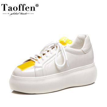 Taoffen Women Vulcanized Shoes Fashion Patchwork Shoes Women Sneakers Mixed Color Cross-Tied Thick Bottom Zapatos Size 34-40