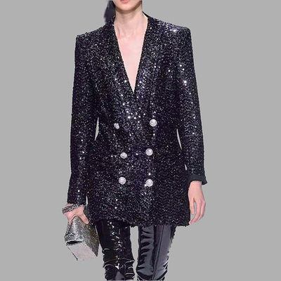 High Quality Women Coat New Fashion 2019 Runway Sequined Blazer Notched Long Sleeve Double Breasted Long Black Blazer Outerwear