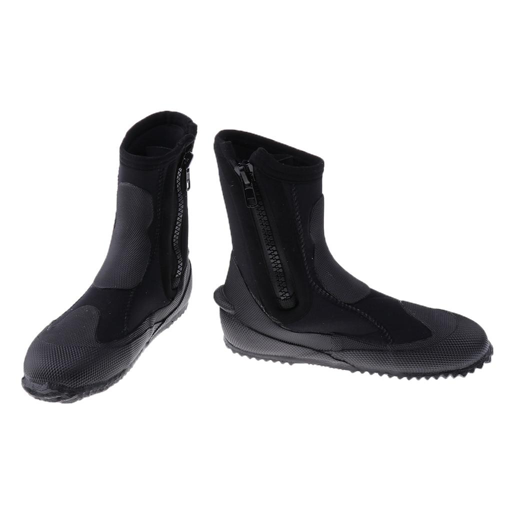 Unisexe 5mm Premium néoprène salut haut combinaisons bottines à fermeture éclair bottes de plongée Sports nautiques plongée en apnée chaussons chaussures - 2