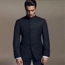 Men Suits Pant Wedding-Tuxedos Fit Black Jacket Formal Stand-Collar Grooms China-Style