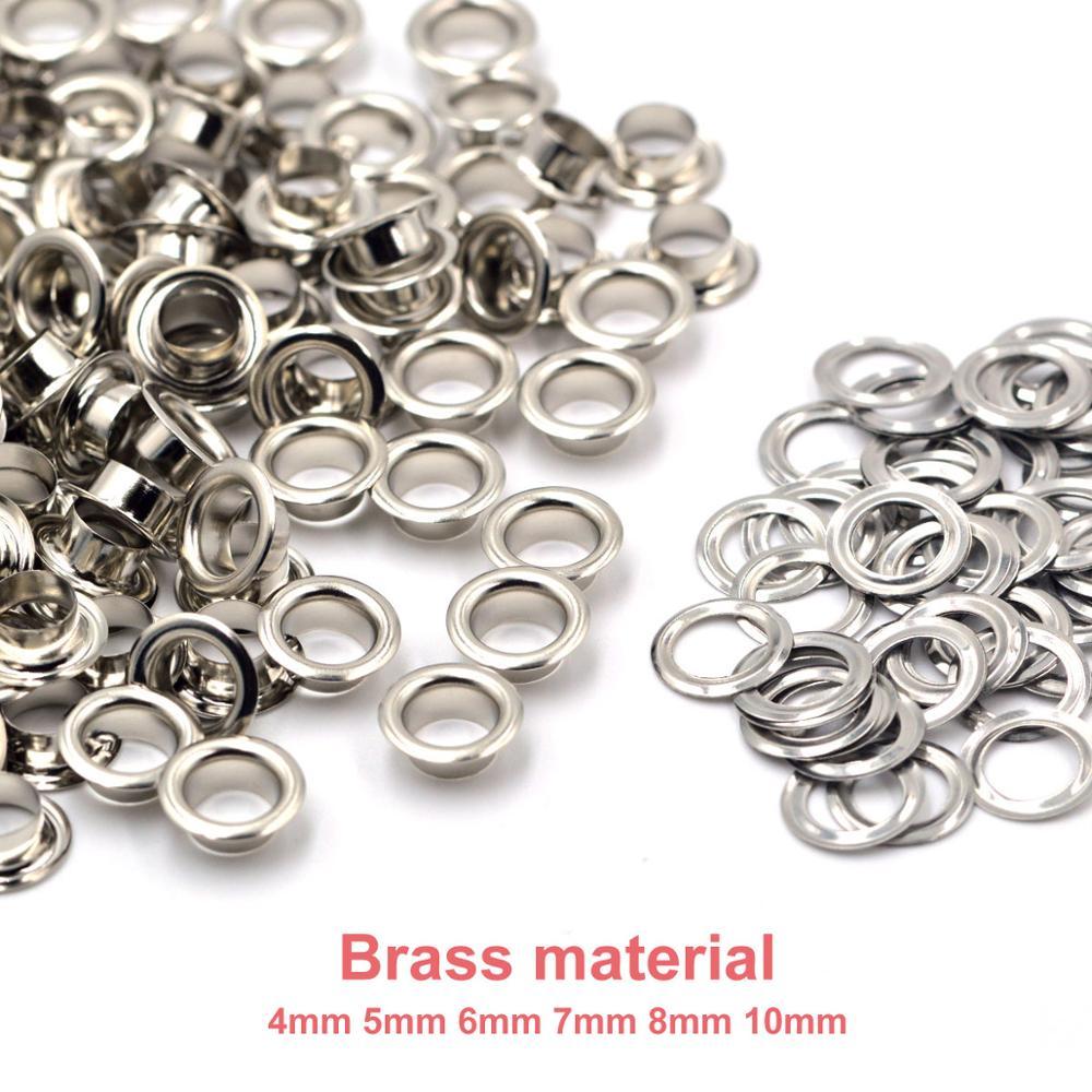 100 conjuntos de bronze material prata 4mm 5mm 6mm 7mm 8mm 10mm ilhó ilhó com arruela de couro apto artesanato sapatos cinto boné acessórios