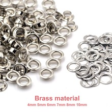 100sets Brass Material Silver 4mm 5mm 6mm 7mm 8mm 10mm Grommet Eyelet With Washer Fit Leather Craft Shoes Belt Cap Accessories