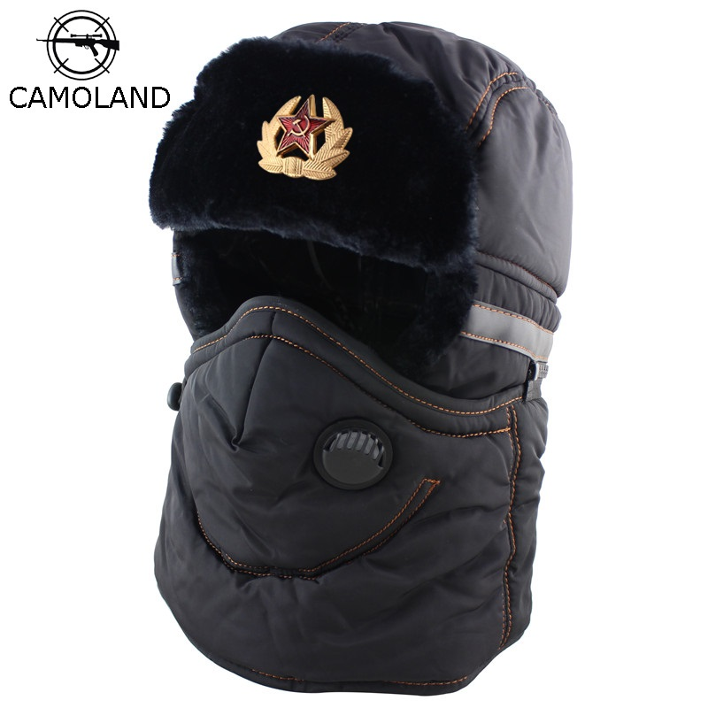 Winter Hat Men Women Bomber Hat With Scarf Anti-haze Mask Russian Ushanka Thermal Trapper Hat Trooper Earflap Snow Ski Balaclava