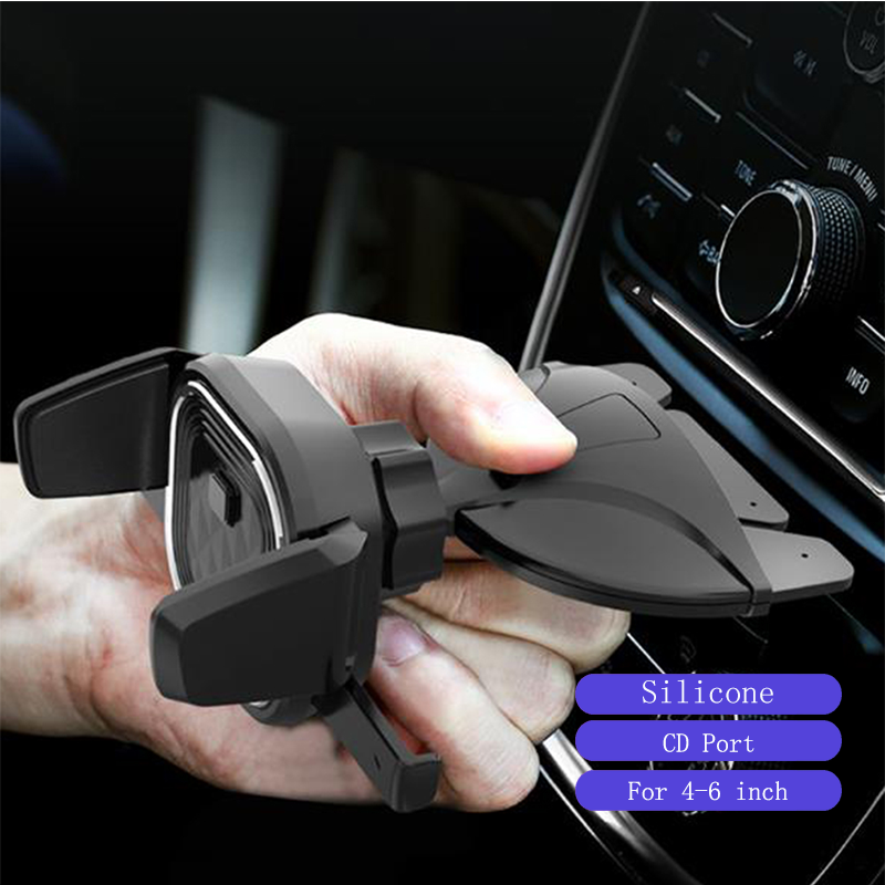 4-6 Inch Silicone Universal Navigation Bracket Car Buckle Type Car CD Port Mobile Phone Bracket Holder