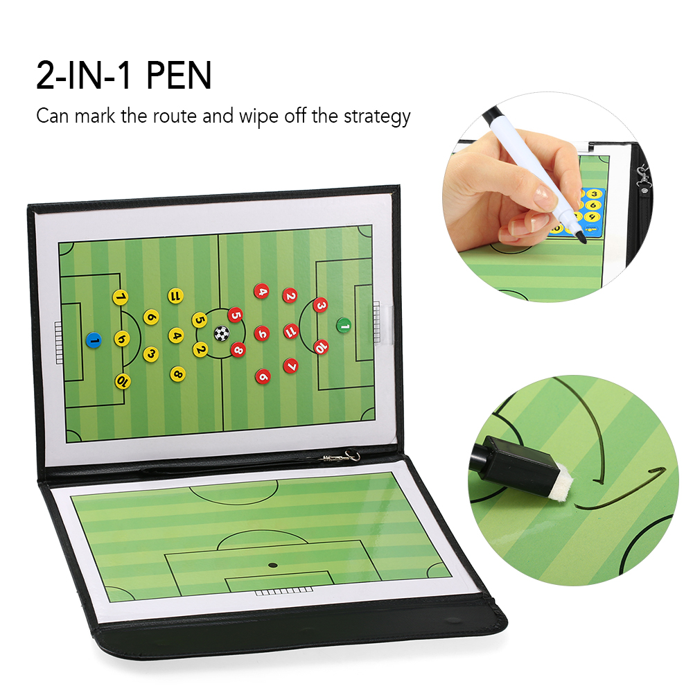 2-in-1 Pen Foldable Football Soccer Magnetic Tactic Board Coaching Strategy Board With Marker Pieces With Pen Soccer Accessories