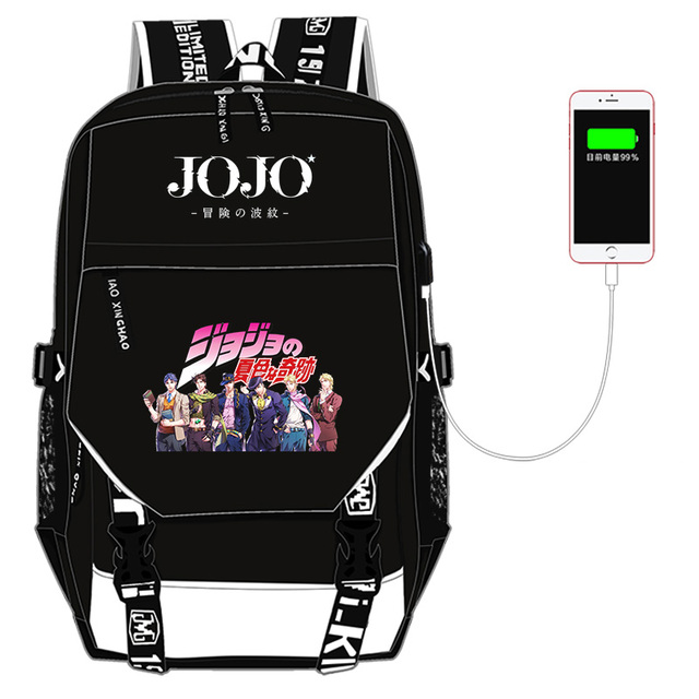 JoJo's Bizarre Adventure Kujo Jotaro Nylon School Bags for Teenage Girls USB Charging Laptop Backpack Canvas Bookbag Travel Bag 3