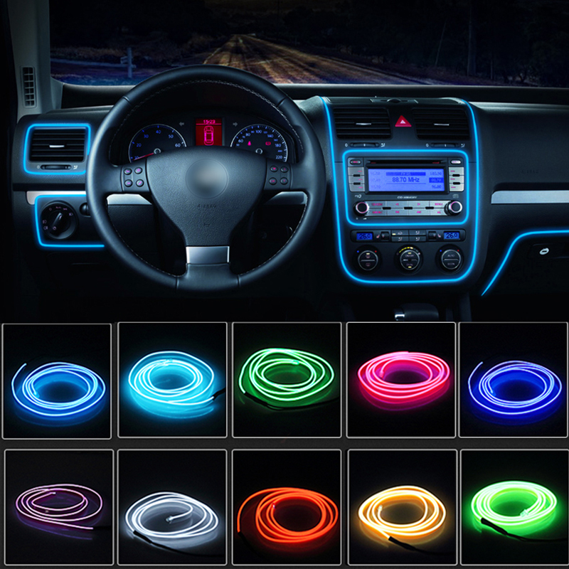 5M/3M/2M/1M Car Interior Accessories Atmosphere Lamp EL Cold Light Line LED Strip For Automotive Interior Car Decoration Festive