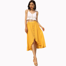 New Asmmetrical Hem Skirt  Sexy skirts womens Solid Color Skirts Casual High Waist Midi-Calf skirt
