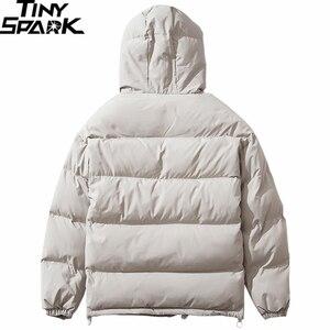 Image 2 - 2019 Winter Hooded Jacket Parka Streetwear Hip Hop Men Trench Windbreaker Oversize Harajuku Padded Jacket Coat Warm Outwear New