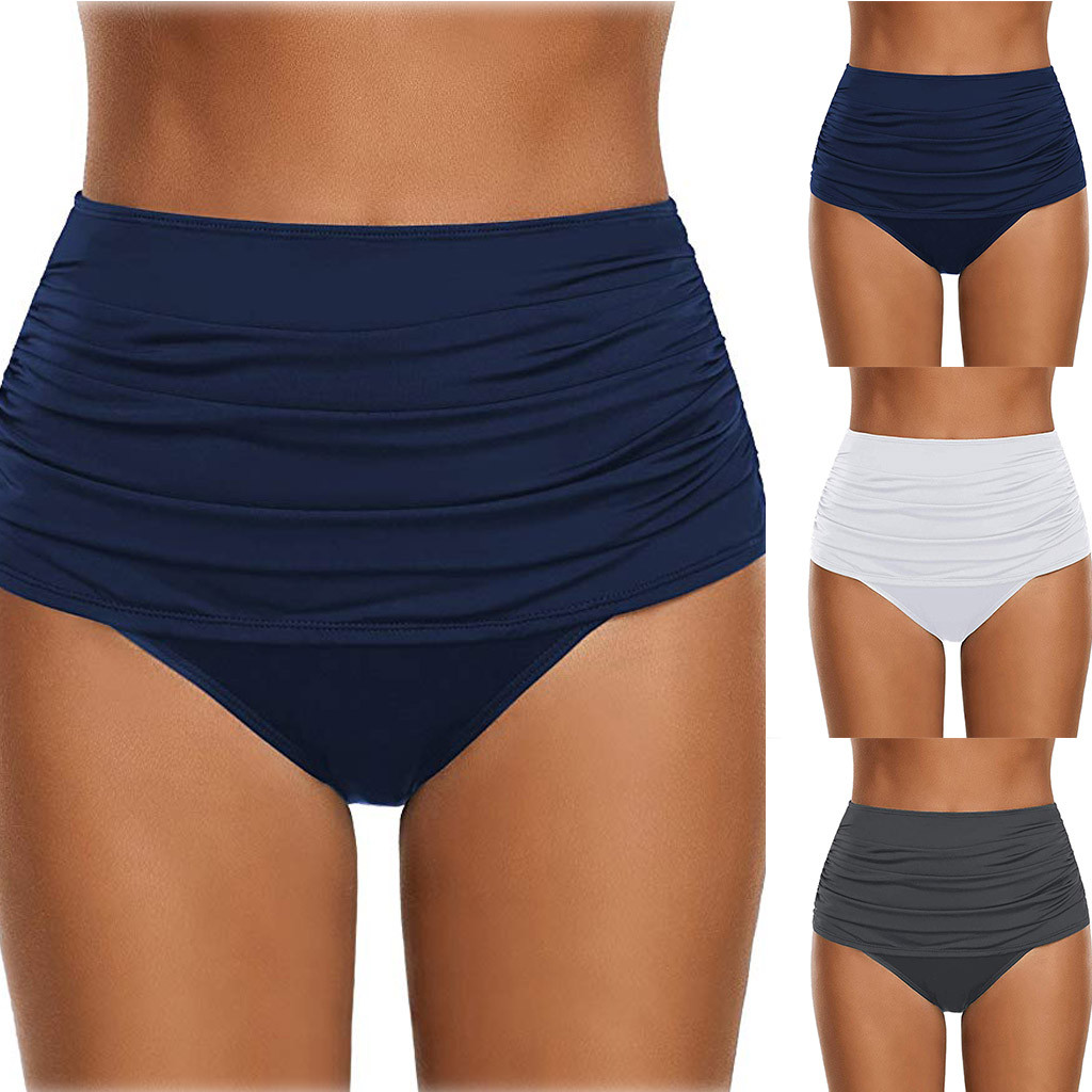 Summer Women's Underwear High Waisted Bathing Bottom Ruche Biquini Tankini Briefs Shorts Solid Color Lengerie For Bathers Thongs