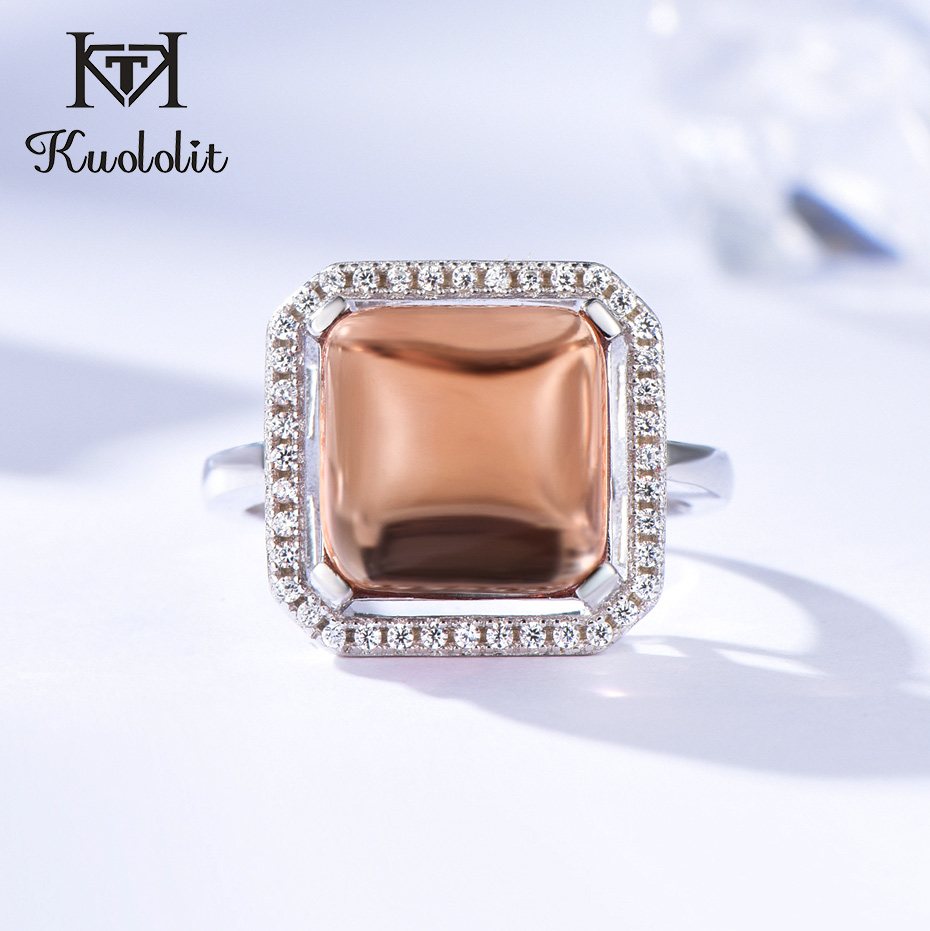 Kuololit Zultanite Gemstone Rings For Women Solid 925 Sterling Silver Created Diaspore Color Change Square Stone Fine Jewelry