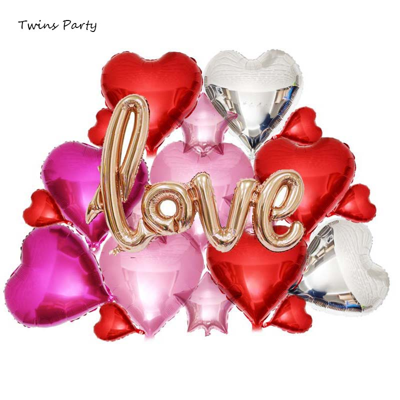 Twins Party Heart Foil Balloons Confetti Ballon Wedding Decorations Babyshower Table Decoration Bride Shower Room Favors in Party DIY Decorations from Home Garden