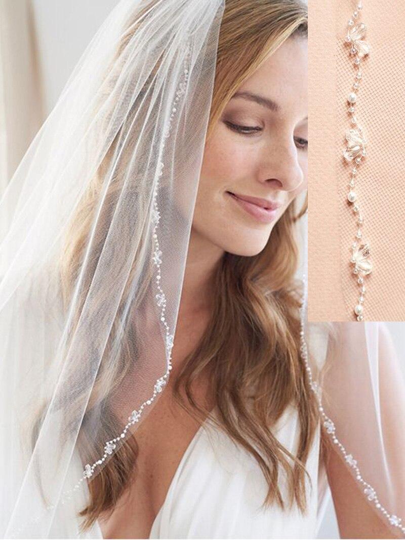 Branco/lvory 1 camada ponta do dedo casamento véus cristal & pérola véu nupcial com pente acessórios de noiva