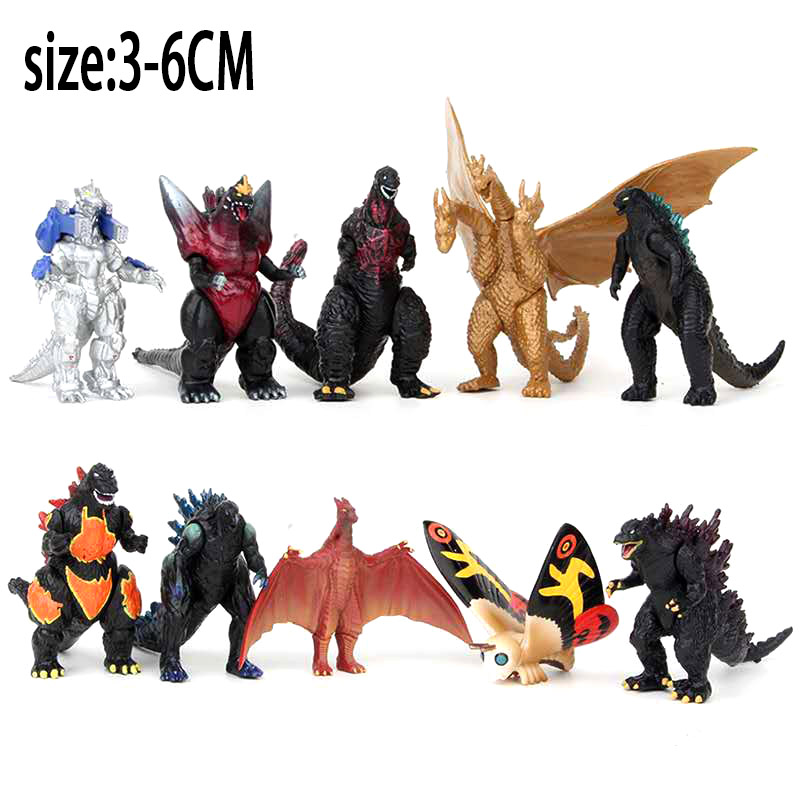 Godzilla Figura 10pcs/set Figure Gojira King Of The Monster Toy Action Figure Movable Doll Speelgoed Anime Movie 3-6CM