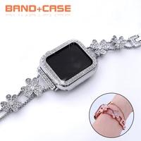 Diamant Edelstahl Armband + Fall für Apple Uhr Band 42mm 38mm Frauen Armband Armband für IWatch 40mm 44mm Serie 6 SE 5 4
