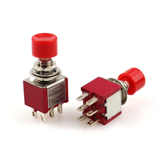 цена на Red  6 Pins SPDT Momentary AC 2A/250V 5A/120V Push Button Pushbutton Switch 1 NO 1 NC