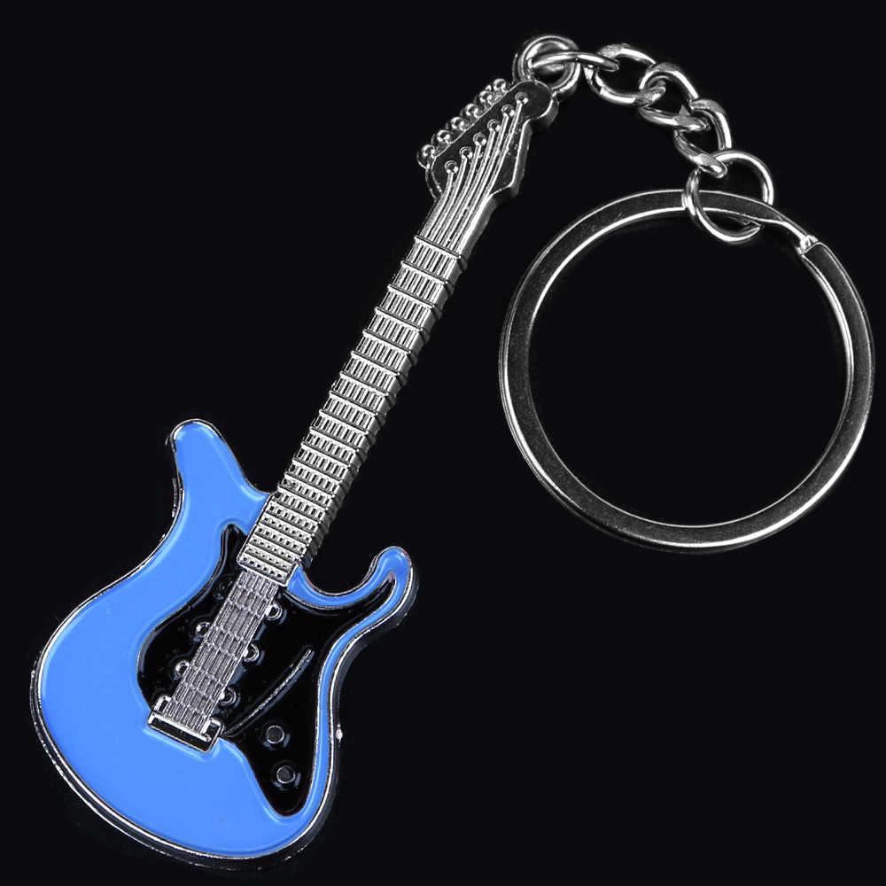 新デザインのクラシックギターキーホルダー車のキーチェーンキーリング楽器シルバー男性女性ギフト