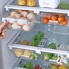 Lodówka jedzenie świeże przechowywanie schowek wielofunkcyjny do oszczędzenia miejsca na jedzenie w lodówce pojemnik na jajka szuflada Organizer tanie tanio KHGDNOR CN (pochodzenie) Pa + pe food container white transparent as the picture show PS+ABS drawer 1pc fridge food organizer
