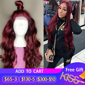13*6 Body Wave 1b/99J Colored Lace Front Human Hair Wigs for Women Ombre Burgundy Lace Front Wig Pre Plucked Brazilian Remy Hair(China)