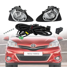 2 Pcs Car Front Bumper Fog Light With Wiring Switch Harness Light Cover Fog Lamp Assembly LED H11 Bulbs For Toyota Yaris 12-14 free shipping fog light set fog lights lamp for toyota yaris hatchback vitz 2006 2008 clear lens pair set wiring kit