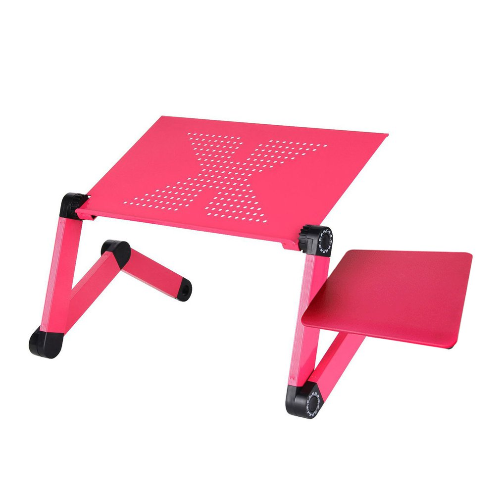 Adjustable Aluminum Laptop Desk Table Ergonomic TV Bed Lapdesk Tray PC Notebook Table Desk Stand With Cooling Fan Mouse Pad