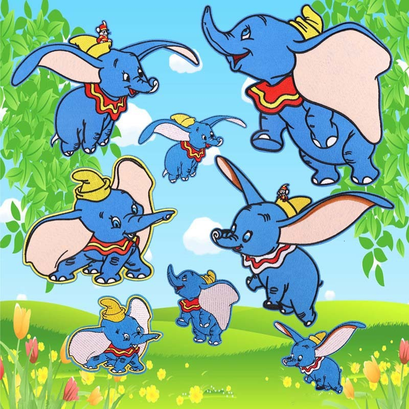 Dogs Patch Iron-On Dumbo Elephant Embroidered Applique Patches For KIDS