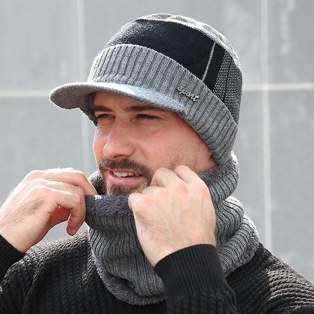 Winter Hats For Men Women Skullies Beanie Hat Winter Cap Men Women Wool Scarf Hat Set Knitted Balaclava Mask Gorras Bonnet 2020 2