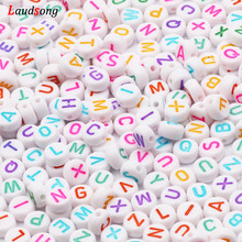 7mm White Colorful Mixed Letter Acrylic Beads Round Flat Alphabet Spacer Beads For Jewelry Making Handmade Diy Bracelet Necklace