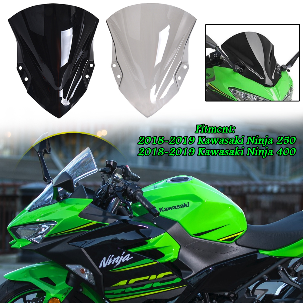 Motorcycle New Generation Touring <font><b>Windscreen</b></font> Windshield Wind Deflectors Screen with Bracket for 2018-2019 Kawasaki <font><b>Ninja</b></font> <font><b>400</b></font> 18 image
