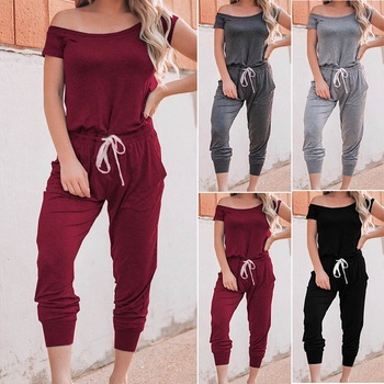 1 6 female body long sleeve shirts short pants male lace up sneakers high top shoes Womens Off Shoulder Short Sleeve Romper 2020 Summer Simple Casual  Jumpsuit Female Fashion Long Pants Lace Up Trousers