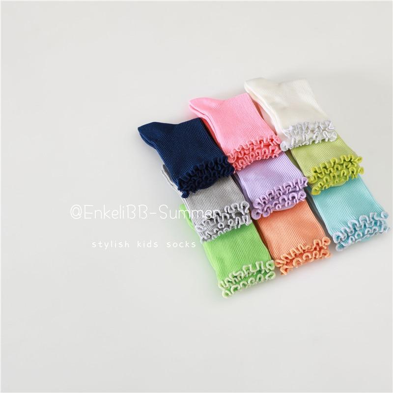 EnkeliBB Baby Girl Lovely Solid Cotton Socks Fungus Summer Spring Tube Socks High Quality Soft Toddler Kids Socks Fashion Baby