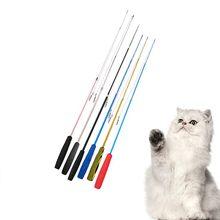Gato interativo teaser varinha animal de estimação três-seção telescópica engraçado gato vara punho preto em pó vara brinquedo de treinamento do animal de estimação para gatinho s